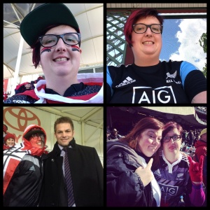 Rugby travels from 2014. Clockwise from top left: Me at AMI Stadium, Christchurch New Zealand in May 2014, Me in Brisbane, Australia in October 2014, All Blacks captain, Richie McCaw and I at AMI Stadium, Christchurch New Zealand in July 2014 and My rugby buddy, Nancy Scuri and I at Soldier Field, Chicago, USA in November 2014