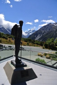 Statue of Sir Edmund Hillary at the Hermitage Hotel, Aoraki/Mt Cook NP